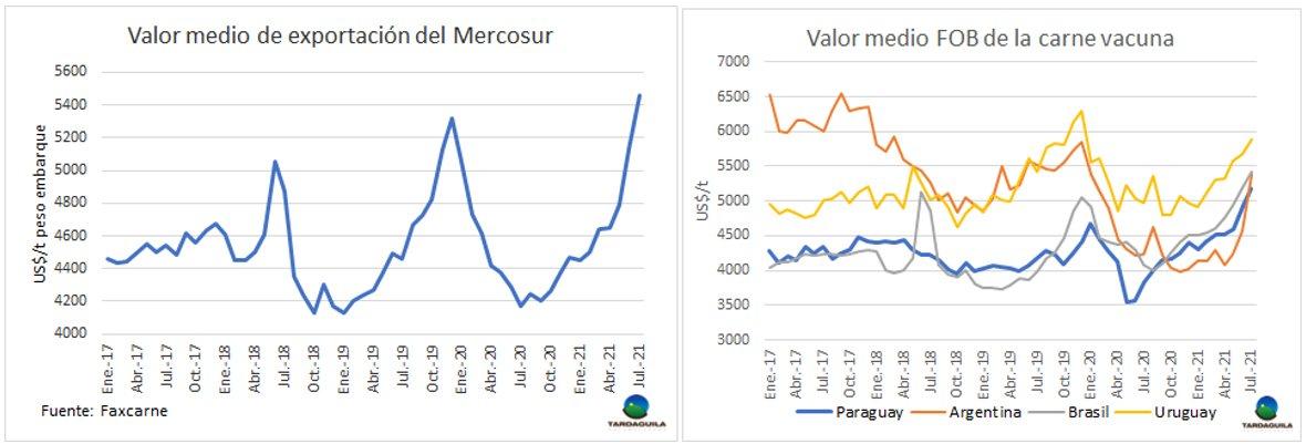 La carne del Mercosur logró el mayor valor de exportación en diez años