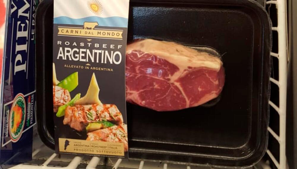 Así venden la carne argentina en los restaurantes y supermercados más prestigiosos de Italia